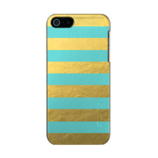Tiffany Blue and Gold Foil Stripes Printed Metallic Phone Case For iPhone SE/5/5s