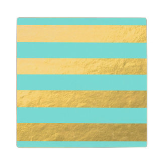 Tiffany Blue and Gold Foil Stripes Printed Maple Wood Coaster