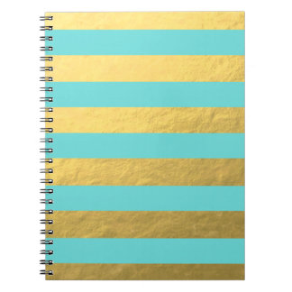 Tiffany Blue and Gold Foil Stripes Printed Notebook