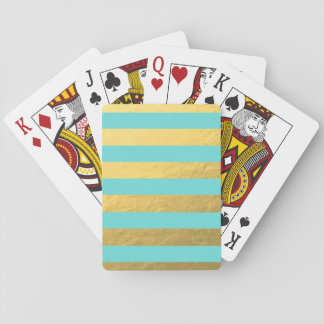 Tiffany Blue and Gold Foil Stripes Printed Card Decks