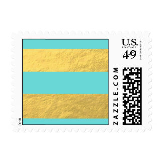 Tiffany Blue and Gold Foil Stripes Printed Postage