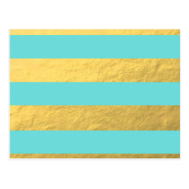 Tiffany Blue and Gold Foil Stripes Printed Postcard