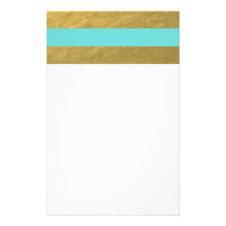 Tiffany Blue and Gold Foil Stripes Printed Stationery