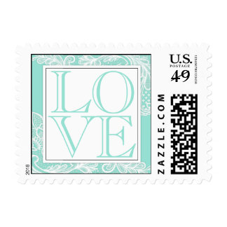 Tiffany Blue and White Lace LOVE Stamp