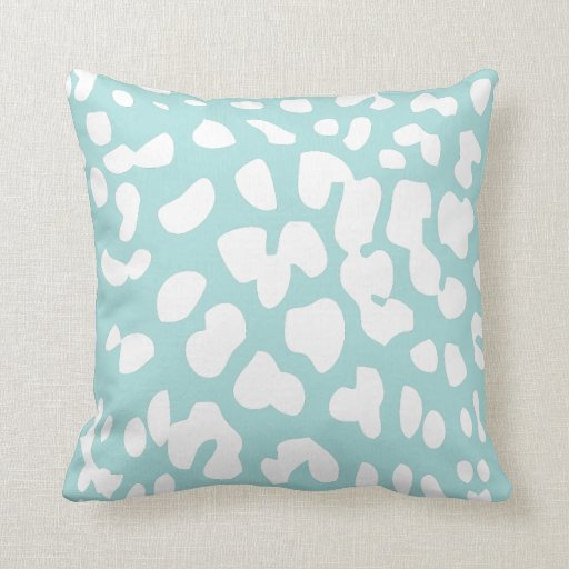 Throw Pillows Tiffany Blue : Tiffany Blue and White Leopard Print Throw Pillow Zazzle