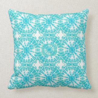 Tiffany Blue and White Tie Dye Print Pillow