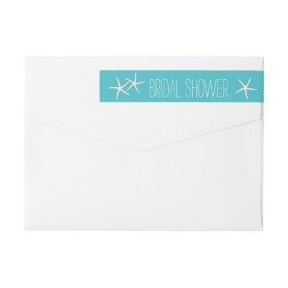 Tiffany Blue Beach Theme Starfish Bridal Shower Wrap Around Label