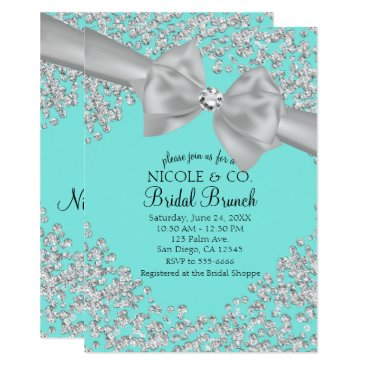 McTiffany Tiffany Aqua Tiffany Blue Big White Bow Diamonds Bridal Shower Card