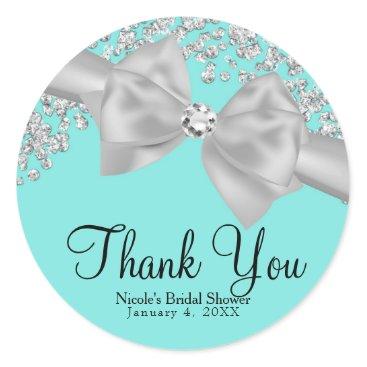 McTiffany Tiffany Aqua Tiffany Blue Big White Bow Diamonds Bridal Shower Classic Round Sticker
