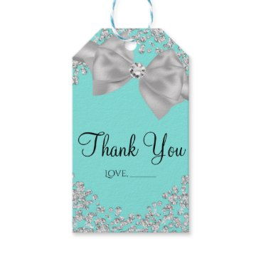 McTiffany Tiffany Aqua Tiffany Blue Big White Bow Diamonds Bridal Shower Gift Tags