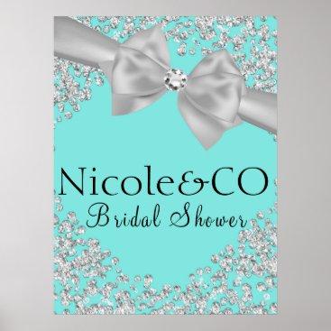 McTiffany Tiffany Aqua Tiffany Blue Big White Bow Diamonds Bridal Shower Poster