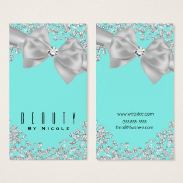 McTiffany Tiffany Aqua Tiffany Blue Big White Bow Diamonds Chic Wedding Business Card