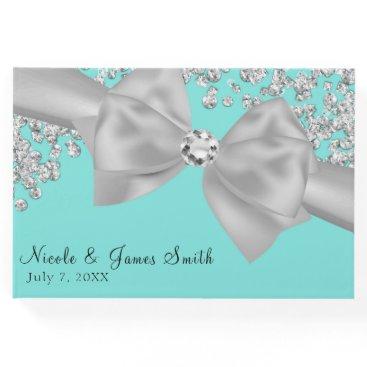 Tiffany Blue Big White Bow Diamonds Chic Wedding Guest Book