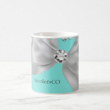 McTiffany Tiffany Aqua Tiffany Blue Big White Bow Diamonds Glam Custom Coffee Mug