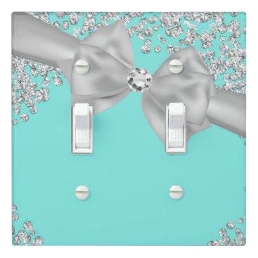 McTiffany Tiffany Aqua Tiffany Blue Big White Bow Diamonds Glam Custom Light Switch Cover
