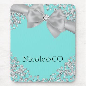 McTiffany Tiffany Aqua Tiffany Blue Big White Bow Diamonds Glam Custom Mouse Pad
