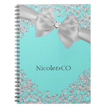 McTiffany Tiffany Aqua Tiffany Blue Big White Bow Diamonds Glam Custom Spiral Notebook