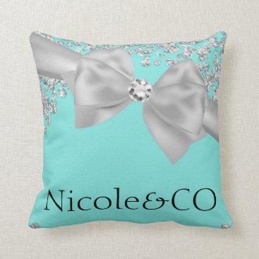 McTiffany Tiffany Aqua Tiffany Blue Big White Bow Diamonds Glam Custom Throw Pillow