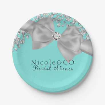 McTiffany Tiffany Aqua Tiffany Blue Big White Bow Diamonds Glam Party Paper Plate