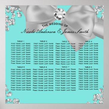McTiffany Tiffany Aqua Tiffany Blue Big White Bow Diamonds Glam Seating Poster