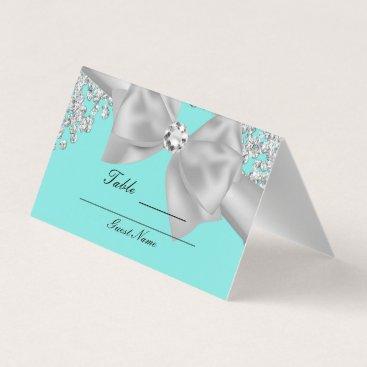 McTiffany Tiffany Aqua Tiffany Blue Big White Bow Diamonds Glam Table Place Card