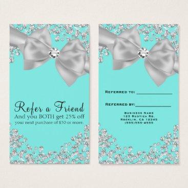 McTiffany Tiffany Aqua Tiffany Blue Big White Bow Diamonds Refer a Friend Business Card