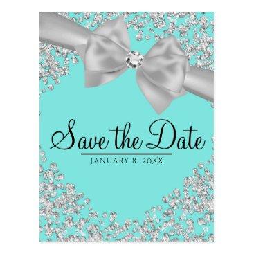 McTiffany Tiffany Aqua Tiffany Blue Big White Bow Diamonds Save the Date Postcard