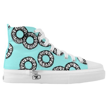 McTiffany Tiffany Aqua Tiffany Blue & Black Circles High-Top Sneakers