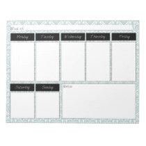 Tiffany Blue & Black Damask Weekly Pattern Notepad