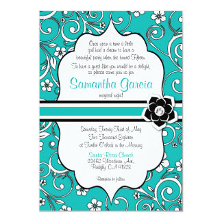 Tiffany Blue & Black Quinceañera Invitation, 15 Card