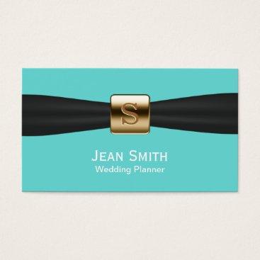 McTiffany Tiffany Aqua Tiffany Blue Black Ribbon Modern Wedding Planner Business Card