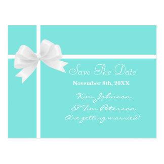Tiffany Blue Bow Bridal Wedding Save Date Postcard