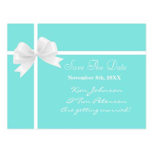 Tiffany Blue Bow Bridal Wedding Save Date Postcard | Zazzle