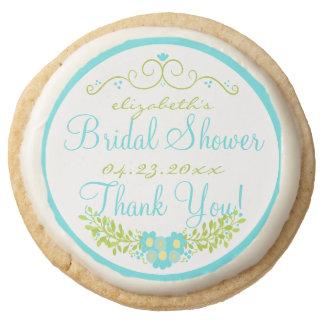 Tiffany Blue Bridal Shower- Floral Wreath Round Shortbread Cookie