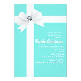 Tiffany Blue Bridal Shower White Bow & Diamond Card