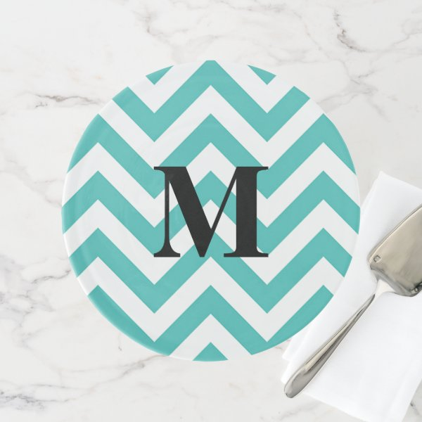 Tiffany Blue Chevron with Monogram Cake Stand
