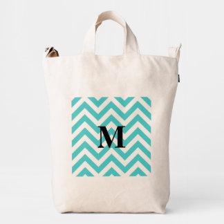 Tiffany Blue Chevron with Monogram Duck Bag