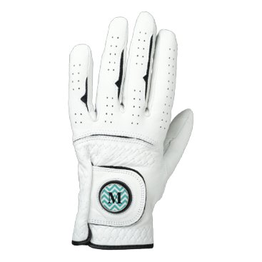 McTiffany Tiffany Aqua Tiffany Blue Chevron with Monogram Golf Glove