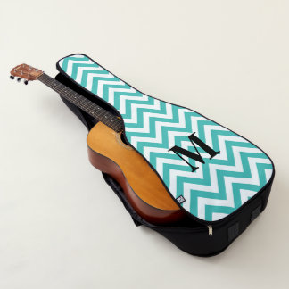 Tiffany Blue Chevron with Monogram Guitar Case