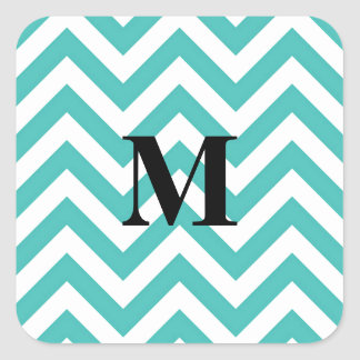 Tiffany Blue Chevron with Monogram Square Sticker