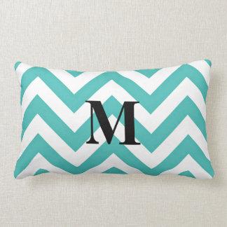Tiffany Blue Chevron with Monogram Throw Pillow