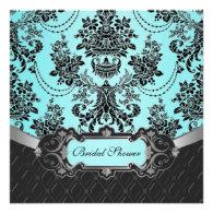 Tiffany Blue Damask Bridal Shower Invitations