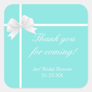 Tiffany Blue Diamond Bow Box Sticker Favor Label