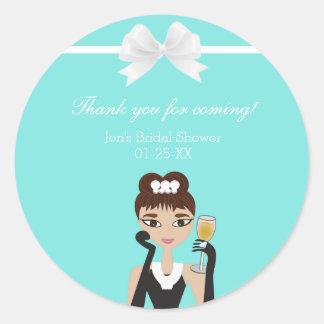 Tiffany Blue Diamond Box Bow Favor Label Sticker