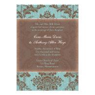 Tiffany Blue Elegant Damask Wedding Invitation