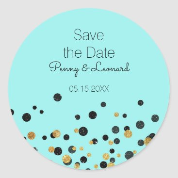 McTiffany Tiffany Aqua Tiffany Blue Elegant Gold Confetti Save the Date Classic Round Sticker