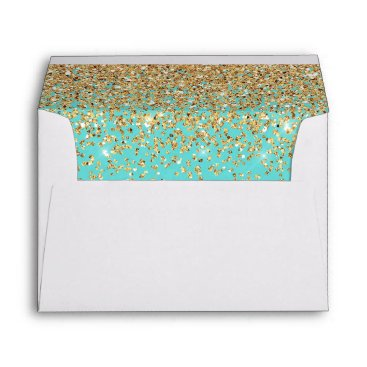 McTiffany Tiffany Aqua Tiffany Blue Elegant Gold Confetti Wedding 5x7 Envelope