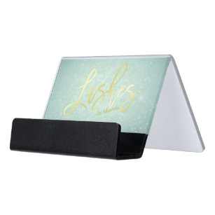Tiffany business card holders cases zazzle tiffany blue faux gold lashes script makeup artist desk business card holder colourmoves Images