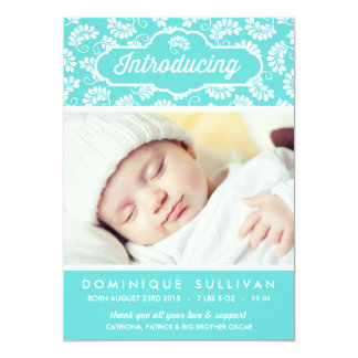 TIFFANY BLUE FLORAL PATTERN | BIRTH ANNOUNCEMENT