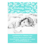 TIFFANY BLUE FLORAL PATTERN BIRTHDAY INVITATION